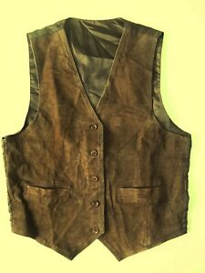 Ladies Leather front Waistcoat Size L 14? Chocolate Brown Lined Unbranded BR*