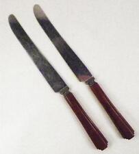 2 Caramel Bakelite Dinner Knives Knife Stainless Blades Vintage Retro Flatware
