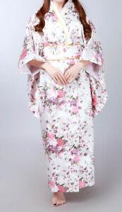 Traditionelle Japanische Luftiger Kimono Damen Mantel mit Hüftgürtel Weiß Blumen