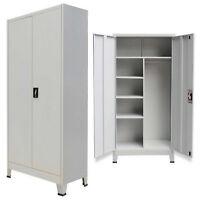 Metal Cabinet 2 Door Storage Office Cupboard Tool Shelves Tall Steel Garage Grey
