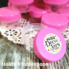 12 Plastic One Half ounce Cosmetic Craft Jars Pink Cap Container DecoJars 4302
