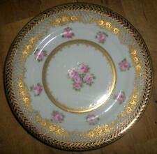 RC NIPPON HANDPAINTED BEAUTIFUL ORNATE ENCRUSTED ROSES BLUE/GOLD TRIM