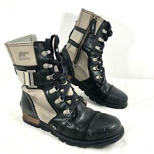 Women's Sorel Major Carly Black leather & Green canvas Sz 7.5