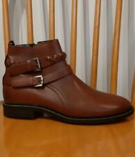 BNWOB NEXT Premium Size 7 Eur 41 Brown Leather Buckle Detail Ankle Boots