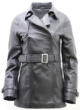 Women's 3/4 Black Ladies Lamb Nappa Leather Trench Coat