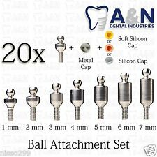 20 Ball Attachment set Titanium Internal Hex Dental Prosthetics Lab Instruments