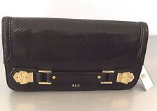 RALPH LAUREN NEWBURY BLACK EMBOSSED LEATHER CLUTCH BAG WITH GOLD ACCENTS