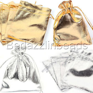 10 Solid Opaque Shiny Organza Drawstring Jewelry Gift Pouch Bags W/ Cinch String