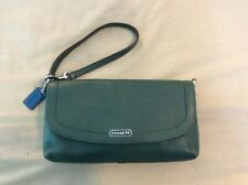 Preowned Like New Coach Park Leather Large Clutch Wallet Wristlet GREEN