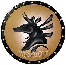Round ANUBIS SHIELD - sca/larp/stargate/egyptian/wood/steel/leather/viking/armor