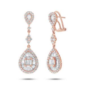 2.70 KT 18K Oro Rosa Naturale Baguette Taglio Diamante Lacrima Pendente Pera