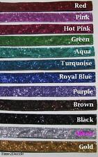Lot of 10 Glitter no slip adjustable Headbands, velvet ribbon head band