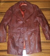 Vtg Brown red Cabretta Glove Leather Jacket Sport Coat 40 fight club costume