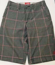 Boys Vans Long Shorts Size 14 Plaid Gray Black & Red FAST FREE SHIPPING