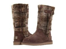 """NEW UGG Australia """"KATERINA"""" PLAID FUR BOOTS SHOES $395 SIZE 5 ESPRESSO SOLD OUT"""