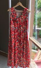 Gorgeous •Leona Edmiston• Red Silk Print Sleeveless Maxi Dress Size 1 10 S EUC