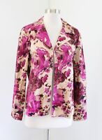 NWT Chicos Additions Heirloom Floral Print Open Front Jacket Size 1 Tan Pink
