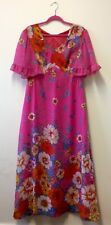 1970s Pink Chiffon Floral Maxi Dress With Butterfly Sleeves UK 14