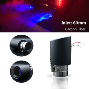 63mm Inlet Blue LED Carbon Fiber Exhaust Tip Car Muffler Pipe Decor Light Lamp