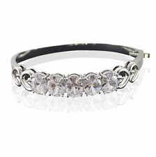 Silver Tone Diamante Heart Link Crystal CZ Bracelet Bangle Wedding Design Ladies