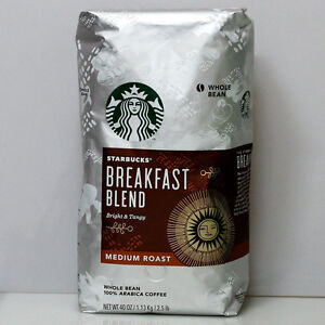 STARBUCKS Breakfast Blend Medium Whole Bean Coffee 40OZ/1.13kg 100% Bright Tangy