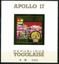 TOGO 1973 APOLLO 17 SPACE ROVER MOON Gold Foil Or Michel 965 Blocs 73 B cote 90e