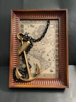 Anchor Plaque By Burwood products Co. Wood & metal chain American Continents Map