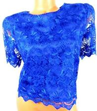 Women's blue round neck see through short sleeve embroidered mesh crop top XL
