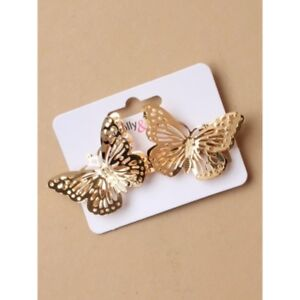NEW Gold gilt filigree butterfly barrette hair clip spring release, ladies/ KZ