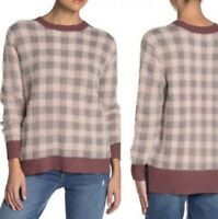 NEW Susina Women's Pink Buffalo Check Sweater Plaid Pullover Size Medium Fuzzy