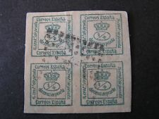 SPAIN, SCOTT # 190a, BLOCK OF 4 1/4c VALUE COAT OF ARMS 1873 ISSUE USED
