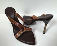 Les Copains Sz 38 EU / 7.5 US  Brown Snakeskin Strappy Gold  High Heel Sandals