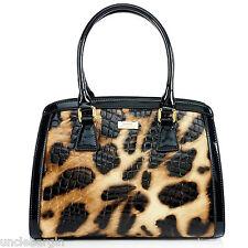 Serenade Lynx Gloss Cheetah Croc Genuine Leather Handbag (SH54-7511)