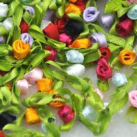 200pcs Small Satin Ribbon Flower Rose sewing wedding appliques E62