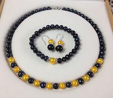 Beautiful!Black/Golden Akoya Cultured Pearl bracelets necklace earrings set