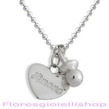 Collana ciondolo ciuccio e cuore con nome inciso in argento Gioiello per mamme