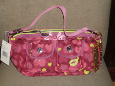 BETSEY JOHNSON BETSEYVILLE BOOT CAMP BETSEY PINK HEARTS HOBO BAG