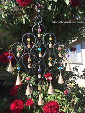 Iron Drop Windchime Bells Bead Recycled Metal Rustic Garden Decor Indoor Outdoor