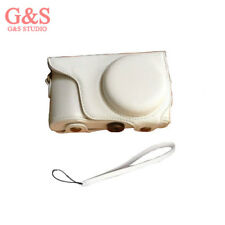 white Pu Leather Camera Case Cover Bag for Samsung Galaxy EK-GC100 GC100 +strap