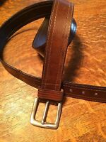 Leather Belt Double Stitch Edges Brass Buckle 1.5 x 40 Brown