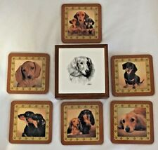 DACHSHUNDS Coasters Wood Box & Tile w/6 Coasters set by Danbury Mint