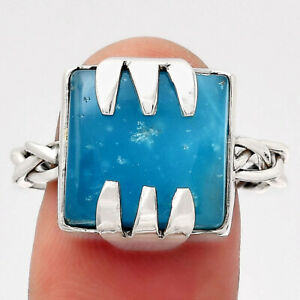 Natural Smithsonite 925 Sterling Silver Ring s.10 Jewelry E154