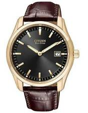 Citizen AU1043-00E Men's Brown Leather Strap Eco-Drive Black Dial Watch