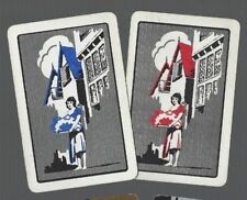 Playing Swap Cards 2 Vint Lady In Her Village Basket Deco Deluxe Pair 366
