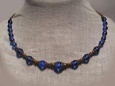 BRONZE FILIGREE SAPPHIRE BLUE GLASS 'HALF-STRAND' NECKLACE EDWARDIAN VICTORIAN