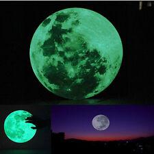 30cm Luminous Moon Glow in the Dark Wall Stickers Moonlight Decor Waterproof NEW
