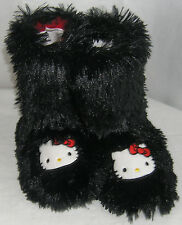 Hello Kitty Slipper Booties BLACK SHAG BACK TO SCHOOL FREE USA SHIPPING 5-6