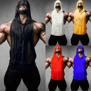 Mens Gym Hooded Tank Top Sleeveless Vest Bodybuilding Cotton Workout Fitness