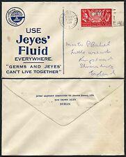 IRELAND 1939 ILLUSTRATED ADVERT ENVELOPE JEYES FLUID...USA PRESIDENT 2p FRANKING