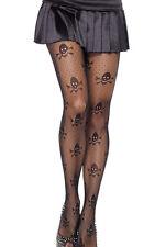 512 Gothik Style Strümpfe Nylon Strumpfhose schwarz Totenköpfe Skulls Skelette